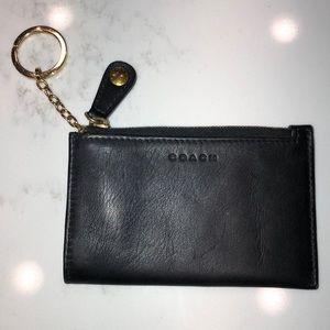 COACH black leather coin purse key chain